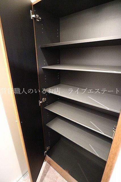靴を入れて余れば、ほかの物の収納にも使えます(反転タイプ102号室の参考写真です)